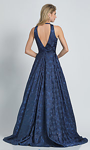Image of navy blue a-line long formal prom dress with print. Style: DJ-A8866 Back Image