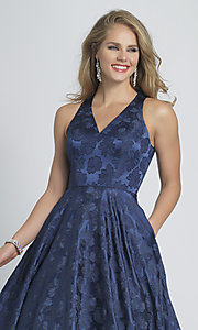 Image of navy blue a-line long formal prom dress with print. Style: DJ-A8866 Detail Image 1
