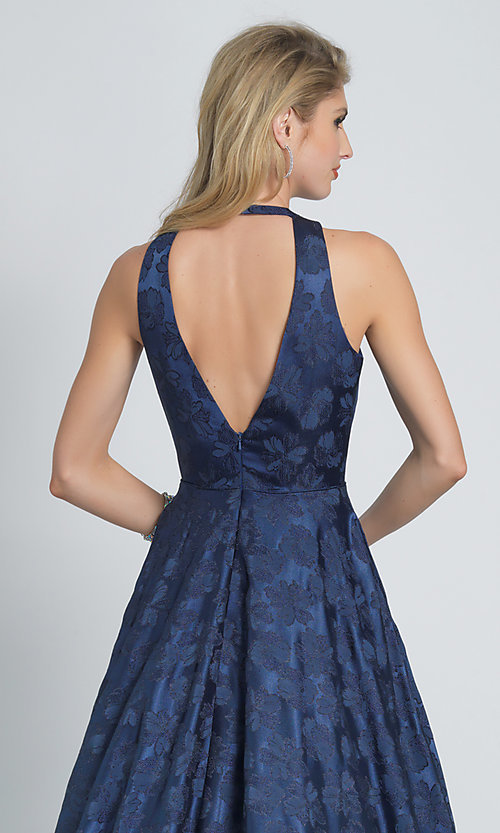Image of navy blue a-line long formal prom dress with print. Style: DJ-A8866 Detail Image 2