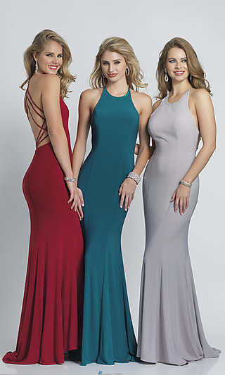 Long Open-Back Formal Prom Dress with Train