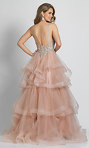 Image of long rose pink formal prom dress with tiered skirt. Style: DJ-A8902 Back Image