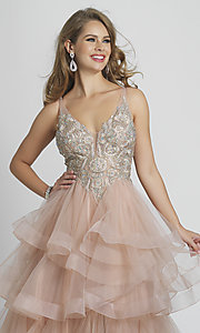 Image of long rose pink formal prom dress with tiered skirt. Style: DJ-A8902 Detail Image 1