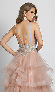 Image of long rose pink formal prom dress with tiered skirt. Style: DJ-A8902 Detail Image 2