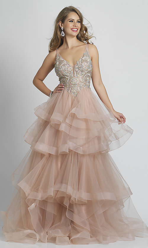 Image of long rose pink formal prom dress with tiered skirt. Style: DJ-A8902 Front Image