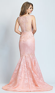 Image of long Dave and Johnny mermaid formal prom dress. Style: DJ-A9003 Back Image