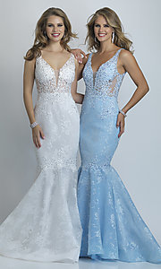 Image of long Dave and Johnny mermaid formal prom dress. Style: DJ-A9003 Front Image