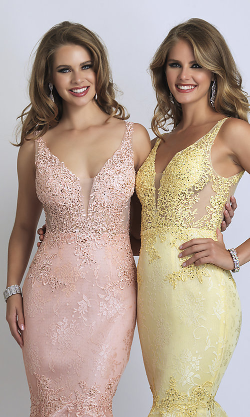 Image of long Dave and Johnny mermaid formal prom dress. Style: DJ-A9003 Detail Image 1