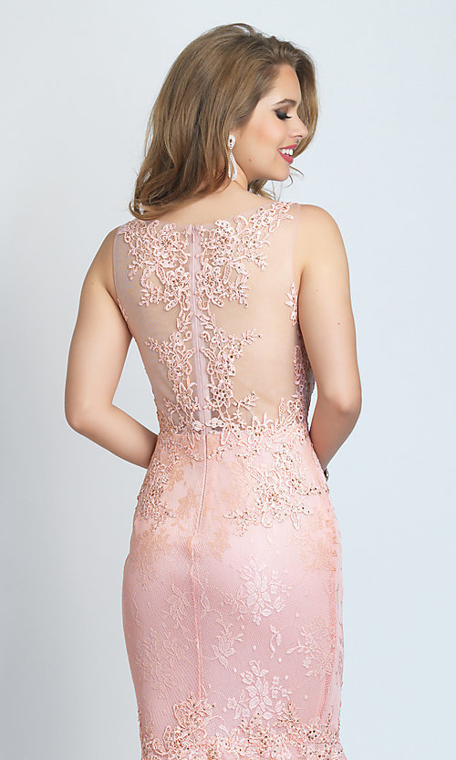 Image of long Dave and Johnny mermaid formal prom dress. Style: DJ-A9003 Detail Image 2