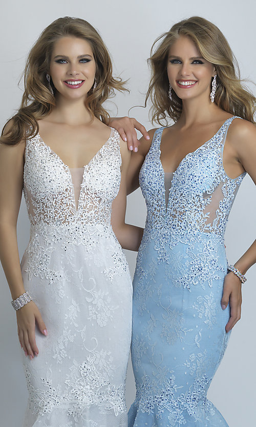 Image of long Dave and Johnny mermaid formal prom dress. Style: DJ-A9003 Detail Image 4