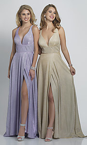 Image of long faux-wrap a-line glitter formal prom dress. Style: DJ-A9009 Front Image
