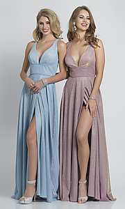 Image of long faux-wrap a-line glitter formal prom dress. Style: DJ-A9009 Detail Image 5