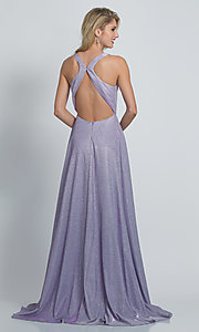 Image of long faux-wrap a-line glitter formal prom dress. Style: DJ-A9009 Back Image