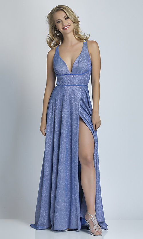 Image of long faux-wrap a-line glitter formal prom dress. Style: DJ-A9009 Detail Image 3