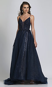 Image of beaded ball-gown-style navy blue long prom dress. Style: DJ-A9027 Front Image