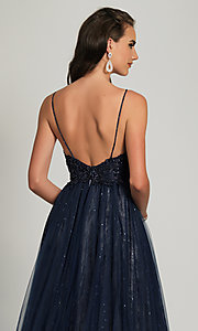 Image of beaded ball-gown-style navy blue long prom dress. Style: DJ-A9027 Detail Image 2