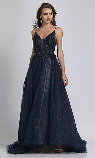 Beaded Ball-Gown-Style Navy Blue Long Prom Dress