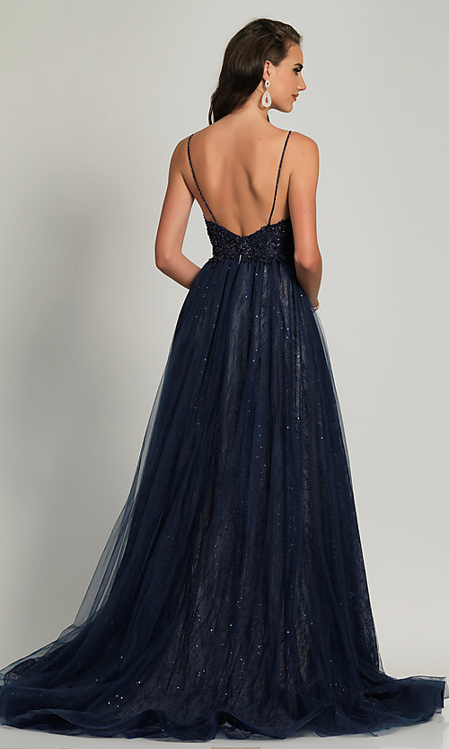 Image of beaded ball-gown-style navy blue long prom dress. Style: DJ-A9027 Back Image