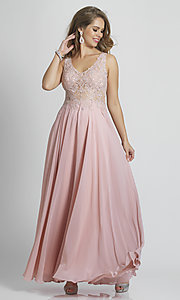 Image of Dave and Johnny formal prom dress with embroidery. Style: DJ-A9037 Detail Image 3
