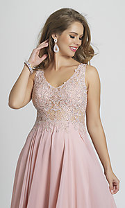 Image of Dave and Johnny formal prom dress with embroidery. Style: DJ-A9037 Detail Image 4