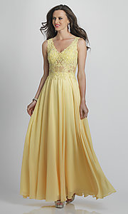 Image of Dave and Johnny formal prom dress with embroidery. Style: DJ-A9037 Front Image