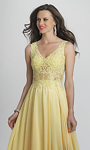 Image of Dave and Johnny formal prom dress with embroidery. Style: DJ-A9037 Detail Image 1