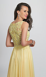 Image of Dave and Johnny formal prom dress with embroidery. Style: DJ-A9037 Detail Image 2