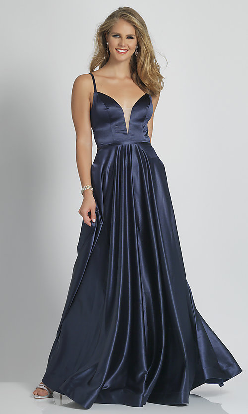 Image of Dave and Johnny formal prom dress in navy blue. Style: DJ-A9058 Front Image