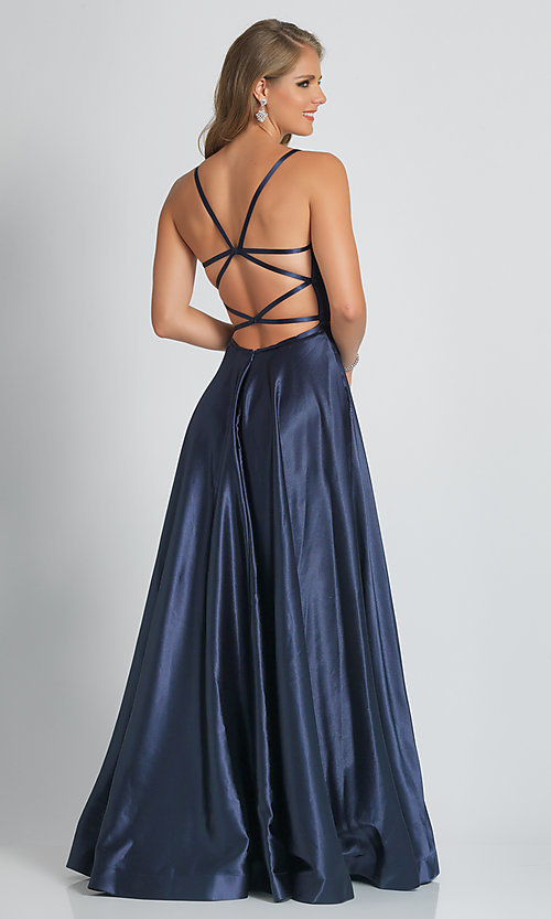 Image of Dave and Johnny formal prom dress in navy blue. Style: DJ-A9058 Back Image