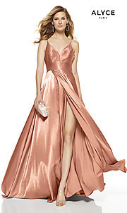 Image of faux-wrap Alyce long prom dress with v-neckline. Style: AL-60624 Detail Image 2
