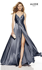 Image of faux-wrap Alyce long prom dress with v-neckline. Style: AL-60624 Detail Image 3