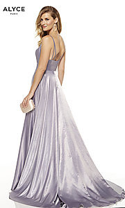 Image of faux-wrap Alyce long prom dress with v-neckline. Style: AL-60624 Back Image