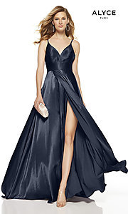 Image of faux-wrap Alyce long prom dress with v-neckline. Style: AL-60624 Front Image