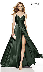 Image of faux-wrap Alyce long prom dress with v-neckline. Style: AL-60624 Detail Image 5