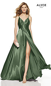 Image of faux-wrap Alyce long prom dress with v-neckline. Style: AL-60624 Detail Image 6