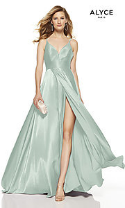 Image of faux-wrap Alyce long prom dress with v-neckline. Style: AL-60624 Detail Image 7