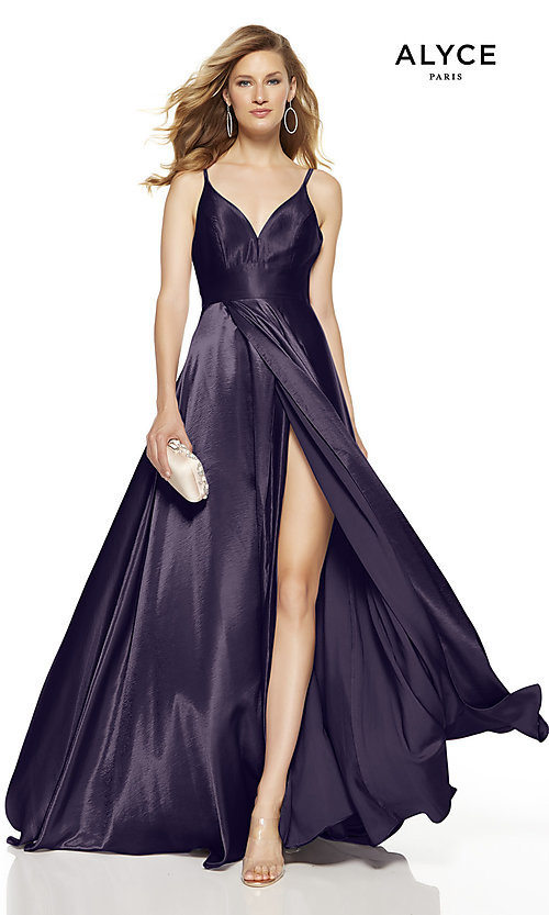 Image of faux-wrap Alyce long prom dress with v-neckline. Style: AL-60624 Detail Image 4