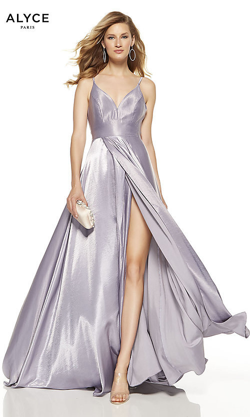 Image of faux-wrap Alyce long prom dress with v-neckline. Style: AL-60624 Detail Image 1