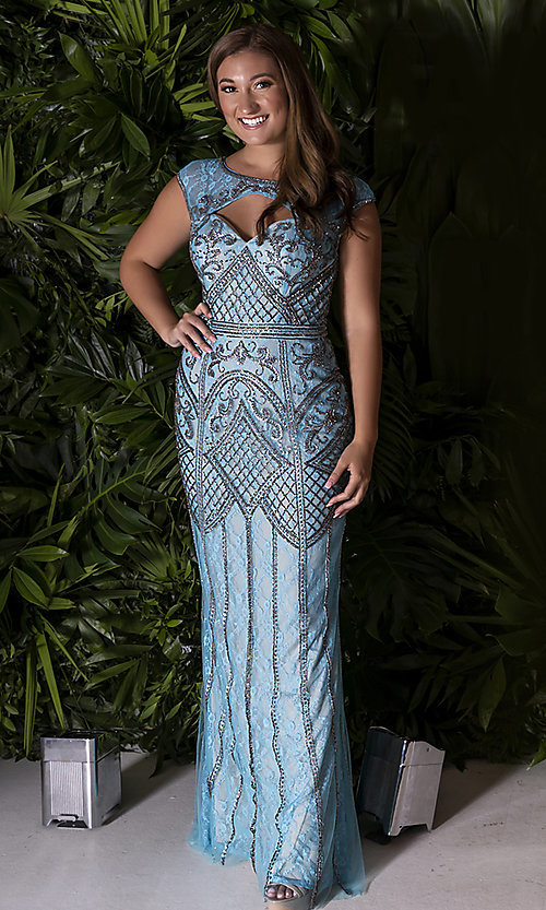 Image of Dave and Johnny long beaded-lace formal prom dress. Style: DJ-A7504 Detail Image 2