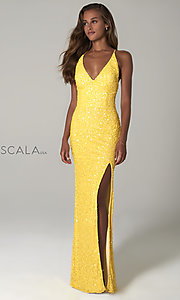 Image of Scala long sequin formal prom dress with open back.  Style: Scala-48949 Detail Image 1