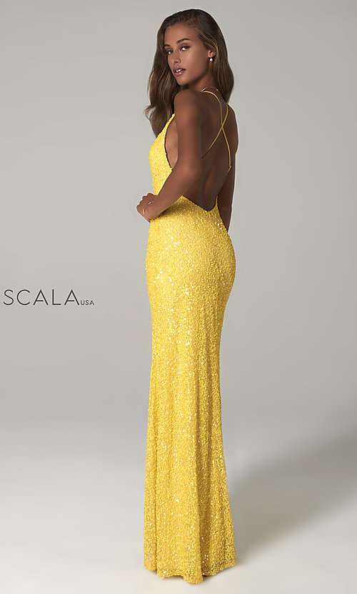 Image of Scala long sequin formal prom dress with open back.  Style: Scala-48949 Detail Image 2