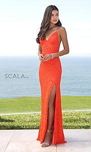 Image of Scala long sequined prom dress with open back. Style: Scala-60141 Front Image