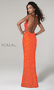 Image of Scala long sequined prom dress with open back. Style: Scala-60141 Back Image