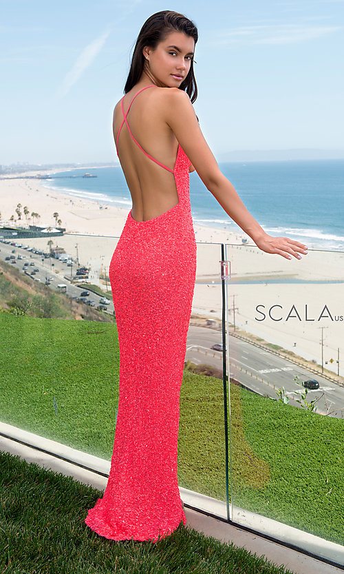 Image of Scala long sequined prom dress with open back. Style: Scala-60141 Detail Image 1