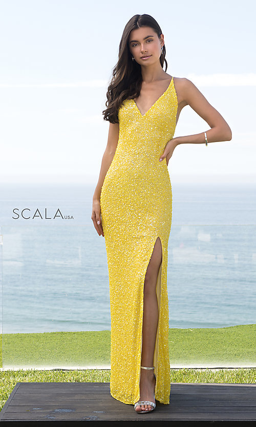 Image of Scala long sequined prom dress with open back. Style: Scala-60141 Detail Image 4