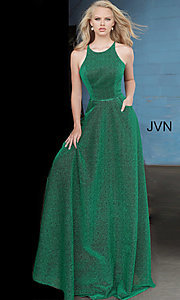 Image of corset-back long emerald green glitter prom dress. Style: JO-JVN-JVN2310 Front Image