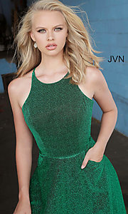 Image of corset-back long emerald green glitter prom dress. Style: JO-JVN-JVN2310 Detail Image 1