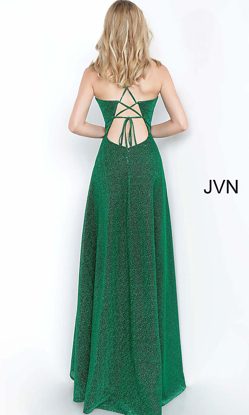Image of corset-back long emerald green glitter prom dress. Style: JO-JVN-JVN2310 Back Image