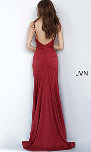 Image of JVN by Jovani cowl v-neck formal dress in burgundy. Style: JO-JVN-JVN00967 Back Image