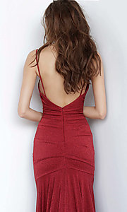 Image of JVN by Jovani cowl v-neck formal dress in burgundy. Style: JO-JVN-JVN00967 Detail Image 2