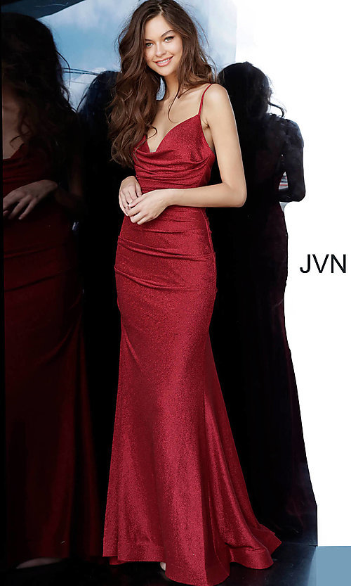 Image of JVN by Jovani cowl v-neck formal dress in burgundy. Style: JO-JVN-JVN00967 Front Image